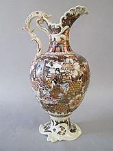 Japanese satsuma earthenware ewer of European