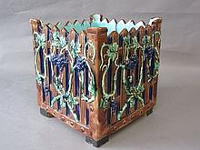 C19th square majolica pottery jardiniere 23.5H