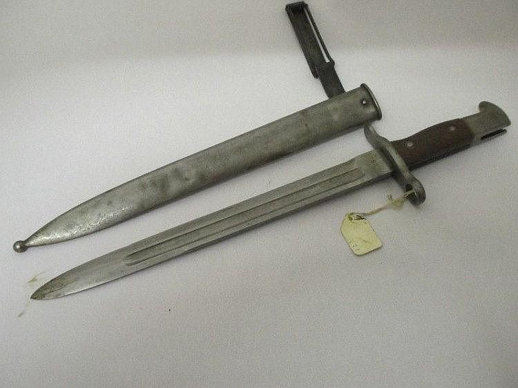 U.S 1892 model bayonet in original metal scabbard