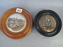 Two framed pot lids On Guard and Shakespeare's