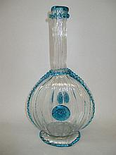Italian pilgrim bottle shaped decanter with blue