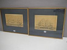 After Geoffrey Stanton, pair ship portrait prints