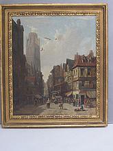 C19th Dutch School C19th, 'Busy street scene in