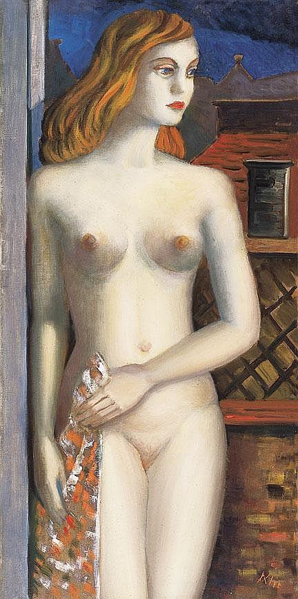 Klie Zoltán 1897-1992 Art Deco Nude 100×50 cm Oil,