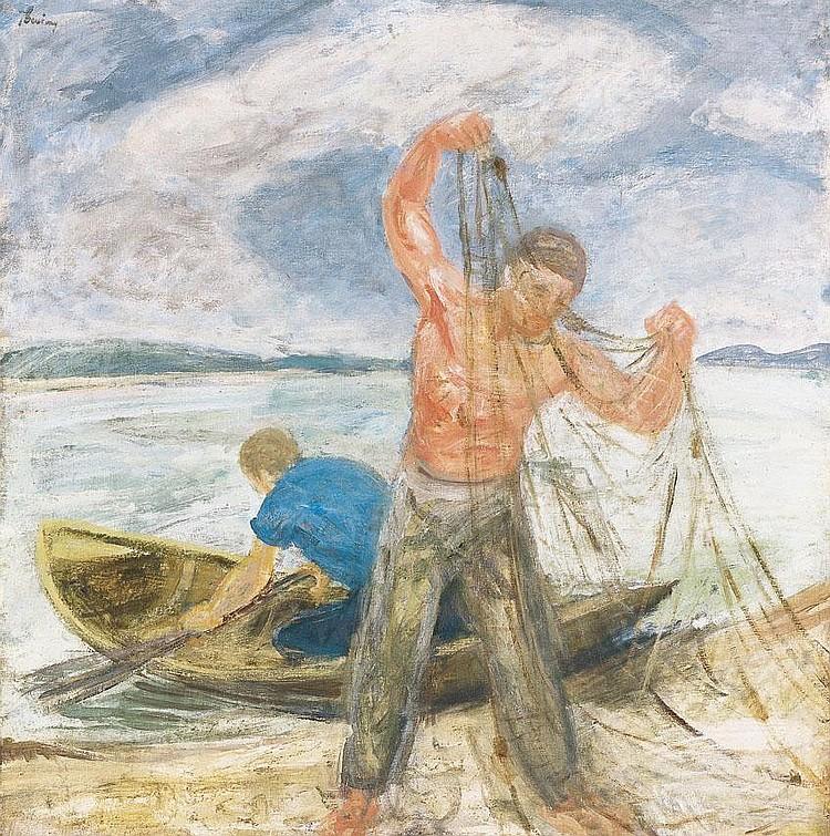 Berény Róbert 1887-1953 Balaton Fishermen 91x90,5