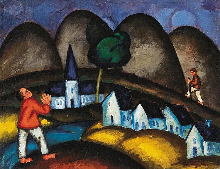 Bortnyik Sándor 1893-1976 Village, 1918 43×54,5 cm