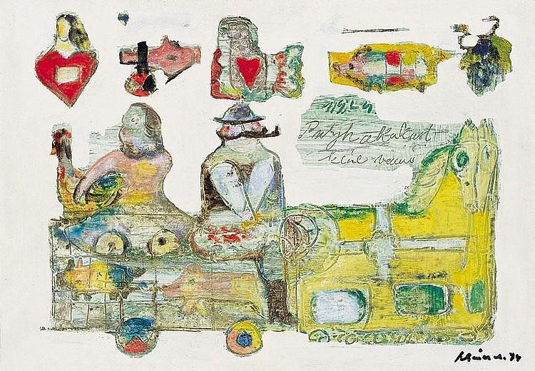 Schéner Mihály 1923- Tale, 1974 34×49 cm Oil on