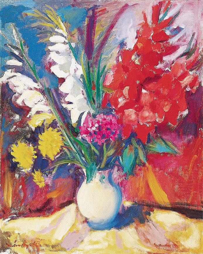 Márffy Ödön 1878-1959 Gladioluses 32×66 cm Oil,