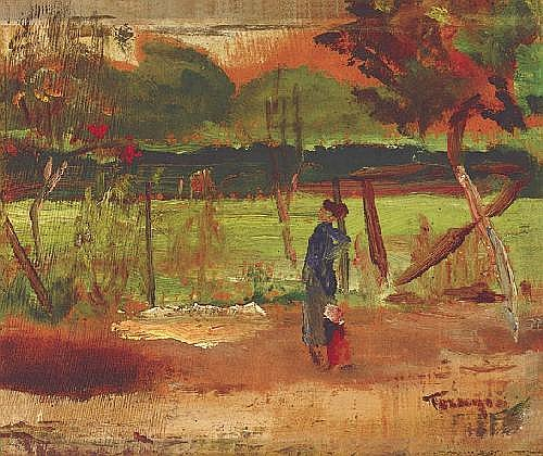 Tornyai János 1869-1936 Twilight 23×27 cm oil,
