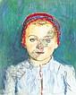 Glatz Oszkár 1872-1958 Blue-eyed Little Girl, 1941, Oszkár Glatz, Click for value