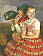 Glatz Oszkár 1872-1958 Brothers 80×62 cm oil on, Oszkár Glatz, Click for value