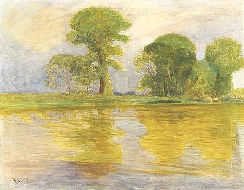 Szlányi Lajos 1869-1949 Sunny Riverside 91×117 cm