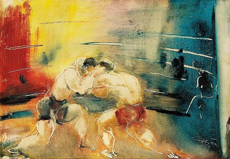 Márffy Ödön: 1878 - 1959: Wrestlers: 36×49 cm: oil