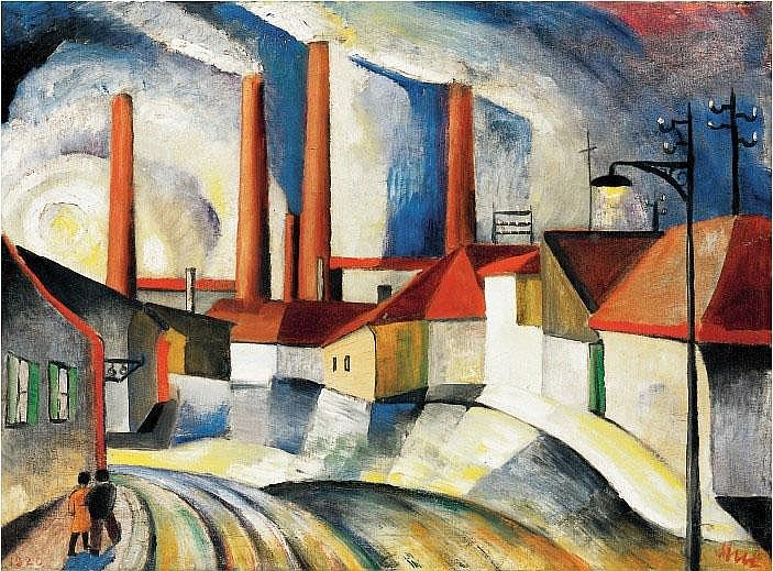 Klie Zoltán: 1897 - 1992: City scene with factory