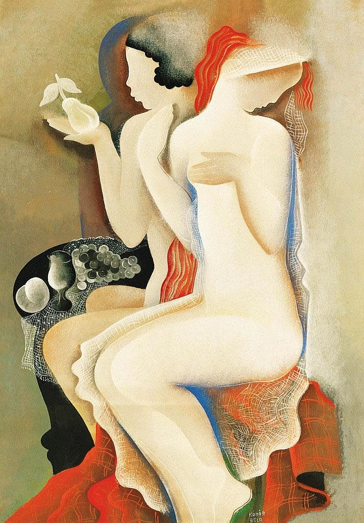 Kádár Béla: 1877 - 1956: Girls with still life,