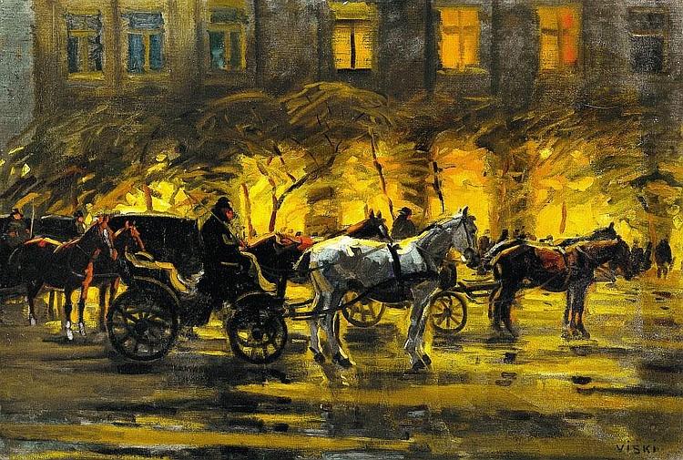 Viski János: 1881 - 1961: Evening Budapest with