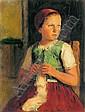 Glatz Oszkár: 1872 - 1958: Little girl in red, Oszkár Glatz, Click for value