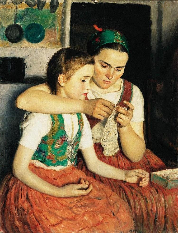 Glatz Oszkár: 1872 - 1958: Girls, 1931: 90×70 cm: