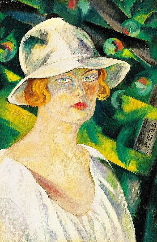 Boromisza Tibor: 1880 - 1960: Lady in white hat: