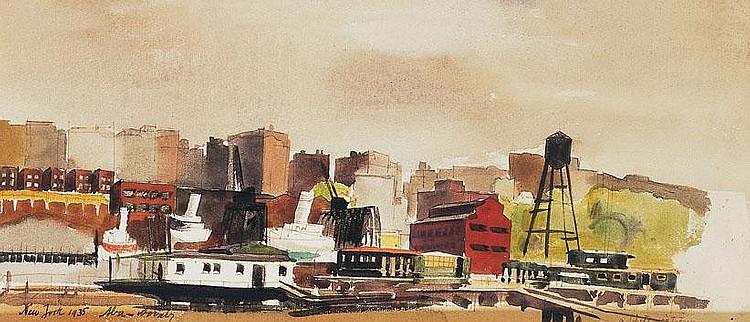 Aba-Novák Vilmos 1894-1941 Port in New York, 1935