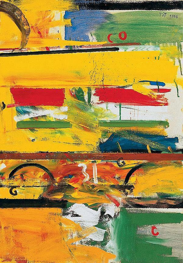 Tót Endre 1937- Composition, 1966 73×51 cm Oil,