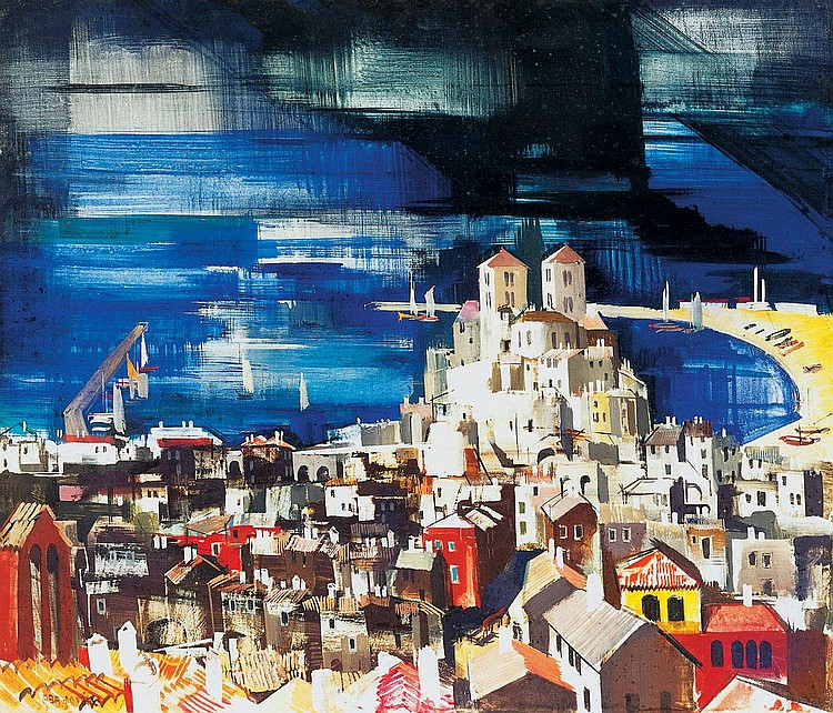 Aba-Novák Vilmos 1894-1941 Bay in Italy with