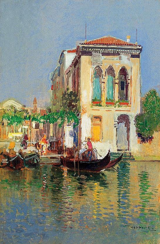Herrer Cézár 1868-1919 Gondoliers in Venice 26×17