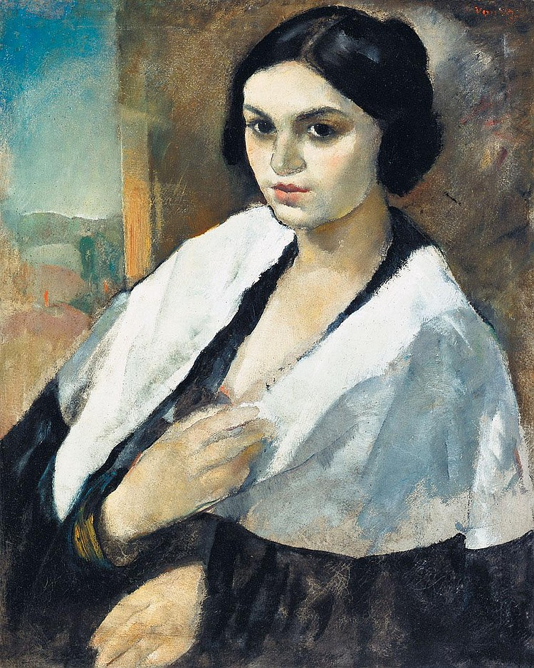 Vadász Endre 1901-1944 Girl with White Scarf 68×55