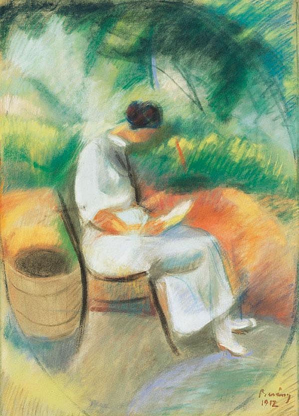Berény Róbert 1887-1953 Reading Woman in the Villa