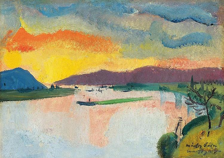 Márffy Ödön 1878-1959 Dusk by the Riverside