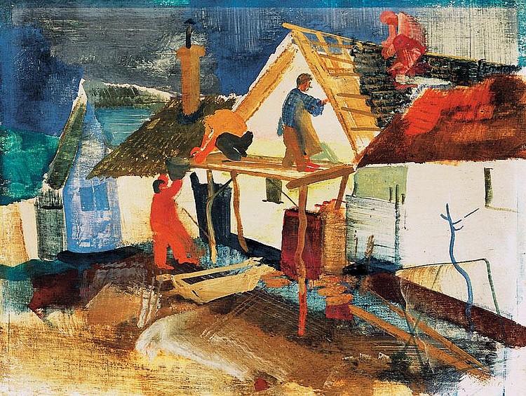 Vadász Endre 1901-1944 Village Street 30,5×40 cm