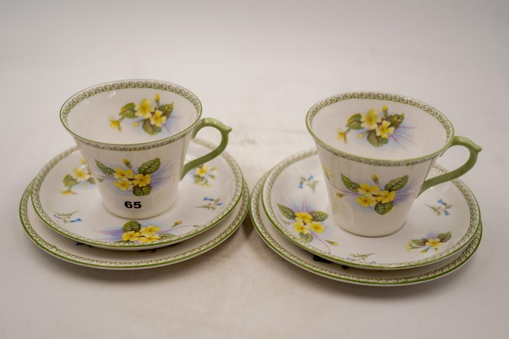Pair of 1930's Shelley tea cup Trios