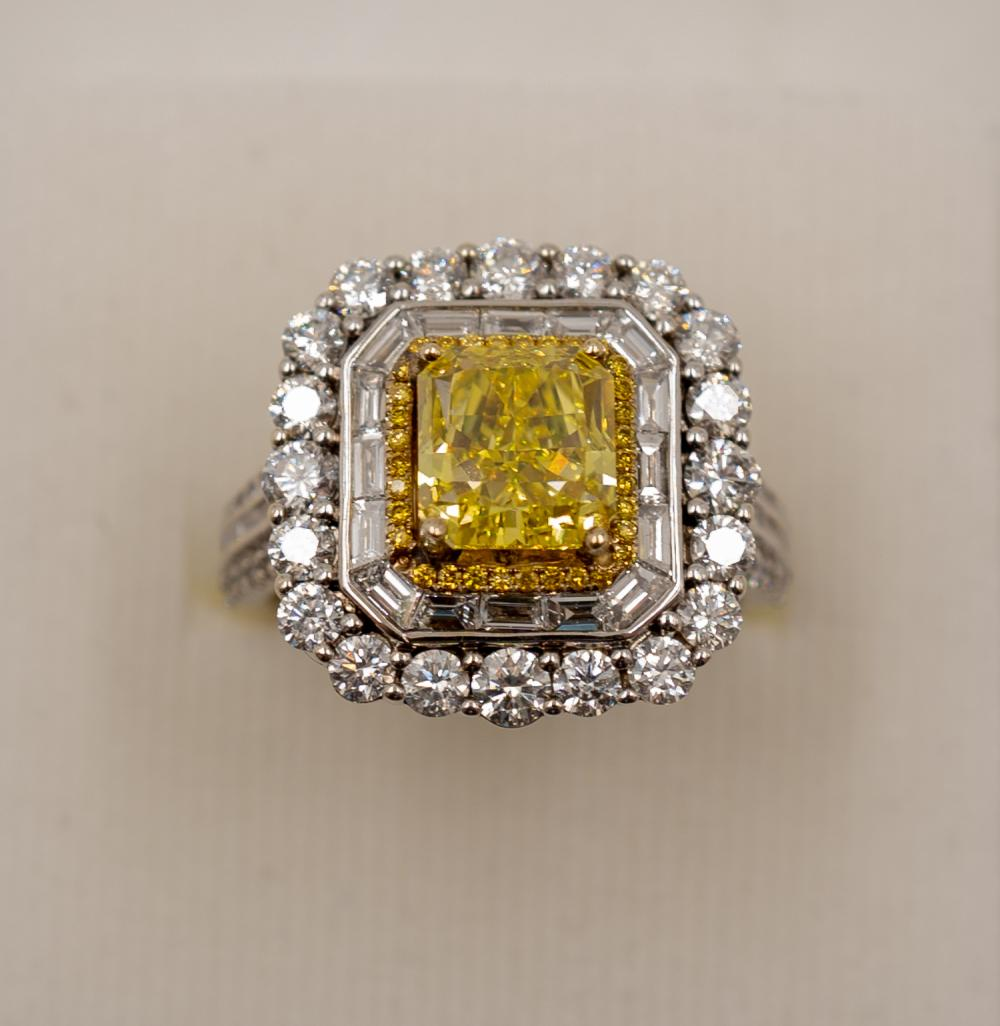 18K White and Yellow Gold, Fancy Vivid Yellow Diamond, Cocktail Ring