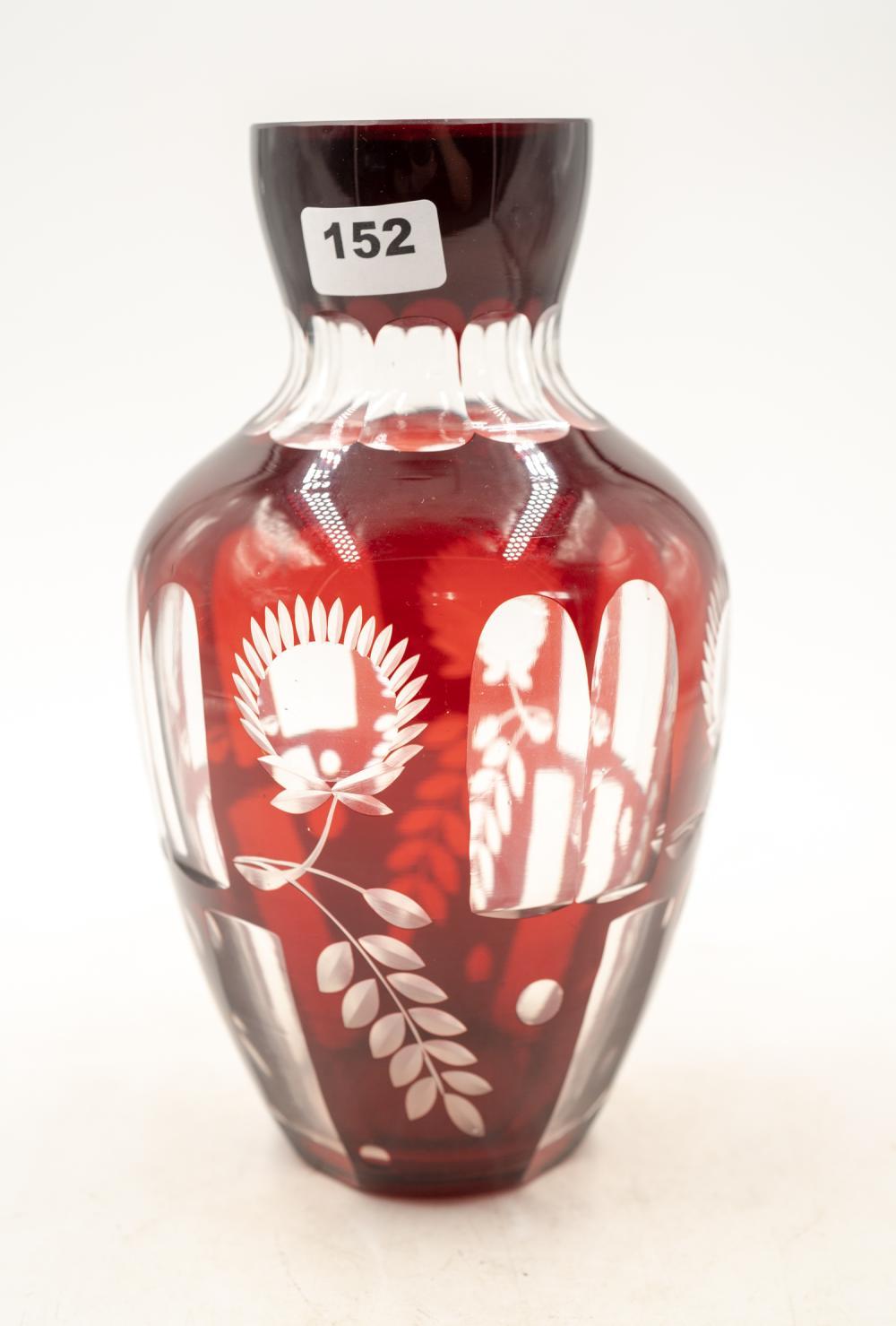 Bohemian cut crystal ruby vase