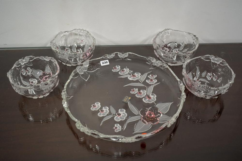 Set of 5 floral themed crystal dessert bowls with tray