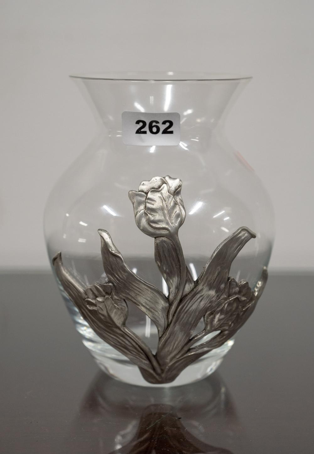 Crystal Posy Vase with pewter flower overlay design