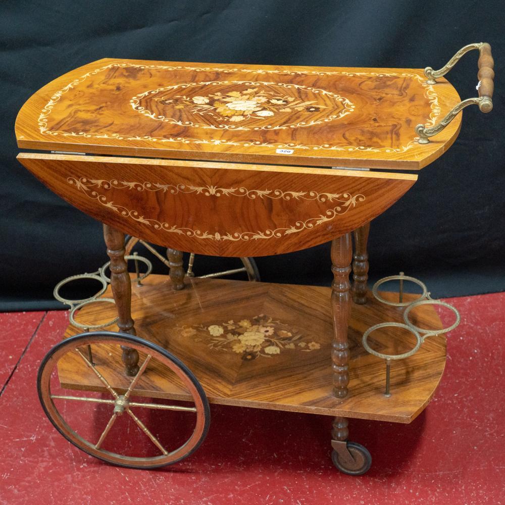20th Century Italian walnut inlaid wine trolley