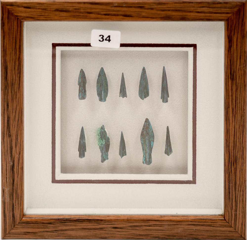Set of 10 bronze Greek arrowheads of various forms