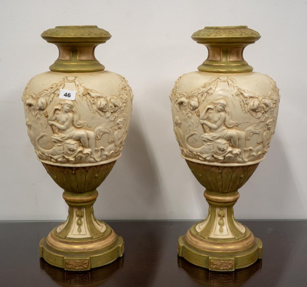 Pair of Royal Dux decorative porcelain vases