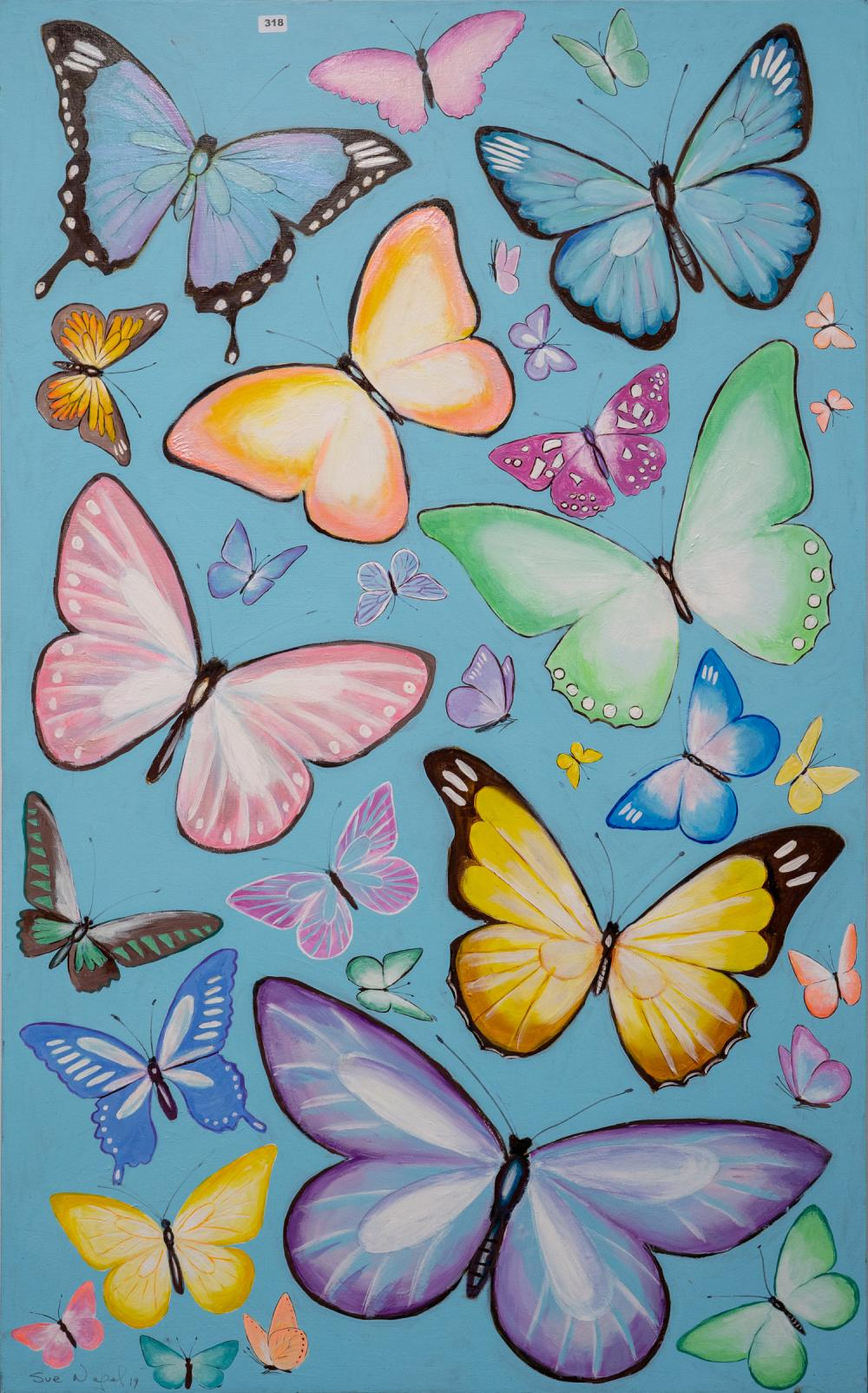 Large Sue Nagel Painting ' Butterflies'