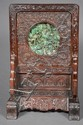 Carved Zitan wood and mounted jade screen
