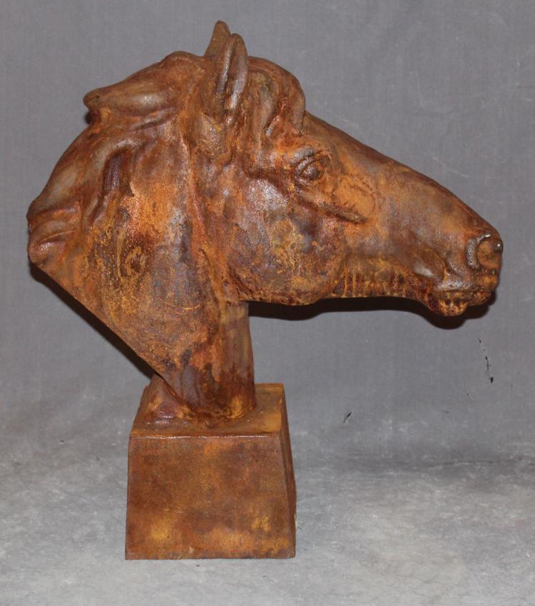 Cast Iron Horse Head Statue