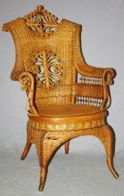 Heywood & Morrill Rattan Co wicker armchair. Having scrollwork throughout.  On splayed legs. 41