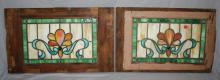 Lot of 2 American Victorian stained & leaded glass windows. 14