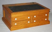 American oak lap desk with bronze inkwell & porcelain drawer pulls. 12