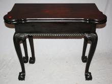 Victorian mahogany ball & claw foot flip top game table. 19th century. 28 1/8