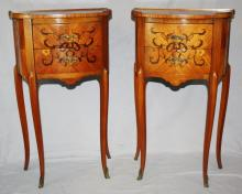 Pair of Italian marquetry 2 drawer chevets.