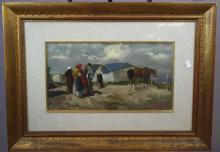Oil on artist board farmworkers. Artist signed l/r. 11 7/8
