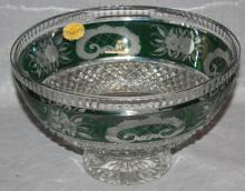 Bohemia green cut to clear crystal bowl with floral border. 5 1/4