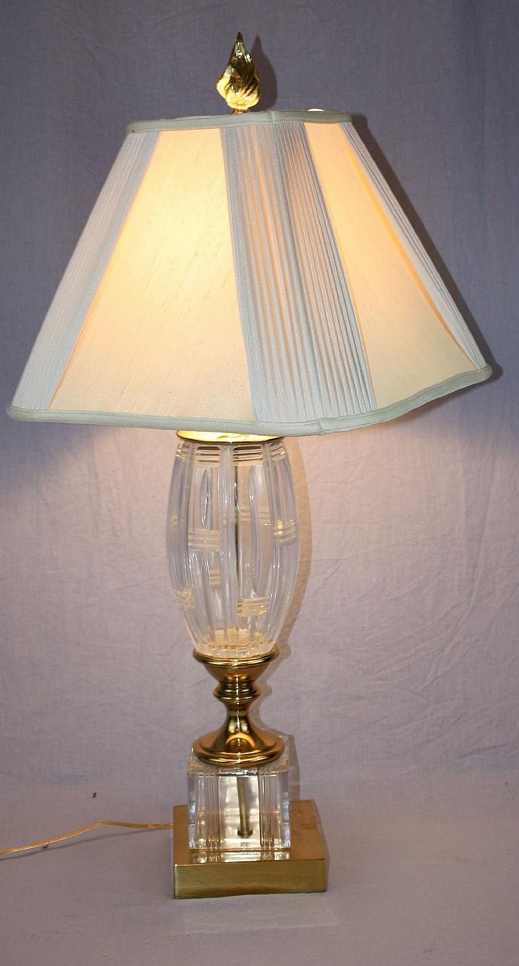 Crystal & brass table lamp with shade